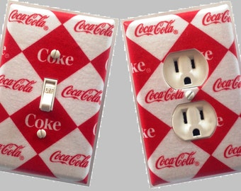 Coke coca cola Custom Light switch and outlets wall plate covers Bar room decor man cave game room