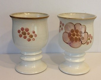DENBY Langley England GYPSYStoneware Wine GOBLET  Hand Painted 6 oz