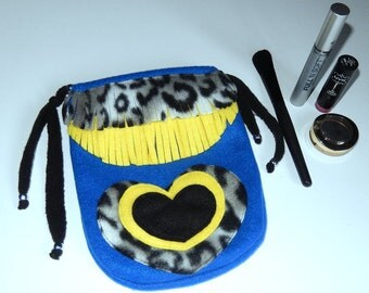 Blue black yellow and animal print cosmetic bag, cosmetic case, utility bag, toiletry bag, drawstring bag, multipurpose case, soft bag, gift