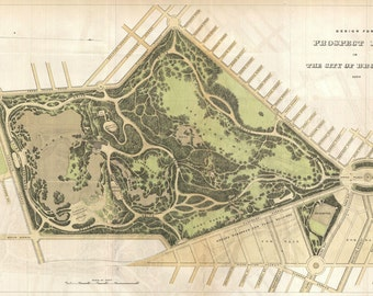 Prospect Park, New York from 1870..Map Print