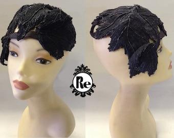 Vintage Women's 1920's Leaf Shaped Straw Hat Original Label reads Mabel Weiny New York No. 4