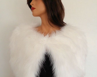 white fur capelet, faux fur stole, white fur wrap, shrug, shawl, cape
