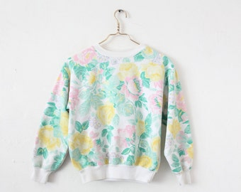 Women's SMALL Vintage Floral Pullover Sweatshirt