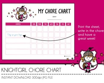 Instant Download Chore Chart - KnightGirl