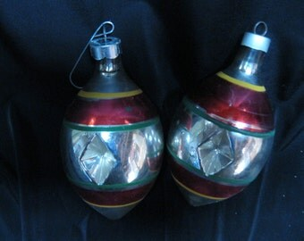 Pair Vintage  Glass Christmas Ornaments