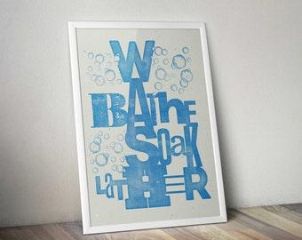 Letterpress style Bathroom typography print