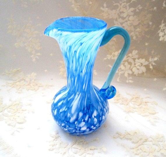 Vintage Pitcher Vase Home Decor Vase Blue And White Splatter