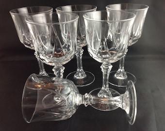 Crystal Wine Glasses Set of 6 Classic Elegant High End Stemware  Vintage Bar Glasses Glas Set Crystal Stems
