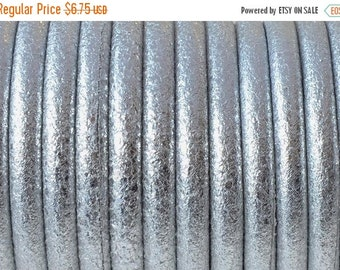 """On Sale NOW 25%OFF Best Quality 5mm Round Wire Core Leather Cord Metallic Silver  16"""""""