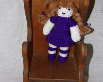 Hand knitted purple doll