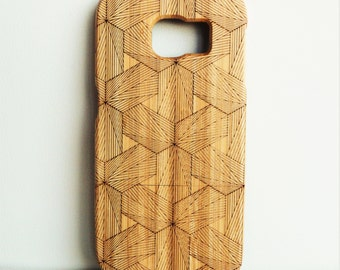 WOODEN PHONE CASE Samsung hexagons design laser etched bamboo (wooden Samsung S7 case)