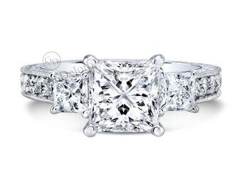 Three-Stone 6.5mm Princess Cut Forever one Moissanite/Diamond Engagement ring