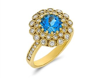 14k solid gold diamond and blue topaz fancy ring. promise ring.