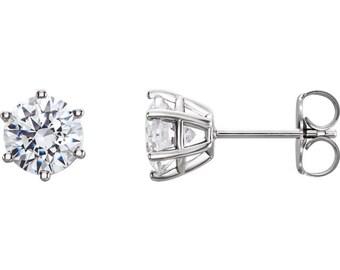 14k solid white gold .34ctw diamond stud earrings. diamond earrings. studs.
