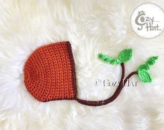 Ready to Ship! Pumpkin Newborn Bonnet. Photography Prop. Newborns and Babies. SALE