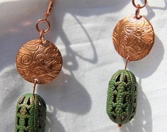 Copper, earrings, handmade.