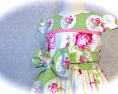 Girls Easter Dress, Toddlers Easter Dress, Pink and Green Floral, Special Occasions, Sunday, Wedding, Sizes 2T - 8 by 8th Day Studio