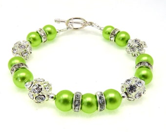 Lime Green Pearl Rhinestone Bracelet, Bridesmaid Jewelry, Wedding Jewelry, Bridesmaids Gifts, Bridal Party, Lime Green Pearl Bracelet