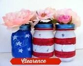 Set of Three American Flag Mason Pint Jars