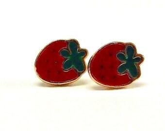 Strawberry Fields Forever Gold Stud Earrings