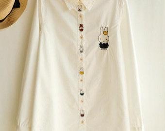 Royal Rabbit Embrodererd Buttondown Blouse