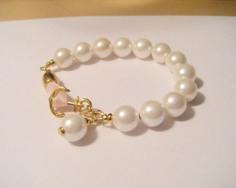 Bracelet shell core Pearl gold anchor with pink strap