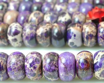 76 pcs of Purple Imperial Jasper smooth Emperor stone rondelle beads in 5x8mm