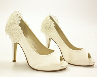 Custom Ivory Bridal Floral Lace Wedding Heels | Bride, Bridesmaid, Prom, Party
