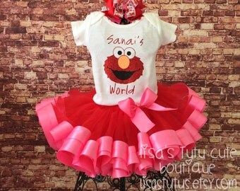 Elmo tutu, Elmo birthday, Elmo birthday outfit, Elmo party, Pink elmo tutu, Pink elmo outfit, Elmos World birthday, Elmo birthday shirt,