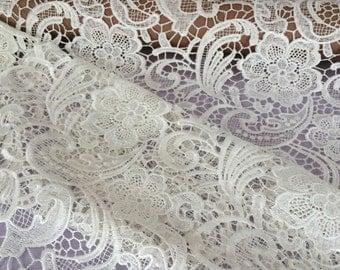 Floral Venise Lace Fabric - White Lace Fabric - Beige Lace fabric - Floral Beige Lace Fabric - white Floral Lace Fabric - L209