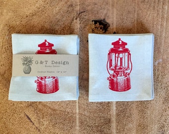 Red Coleman Lantern Screen Printed onto 100% Natural Linen Cocktail Napkins, Set of 4 , Hostress Gift