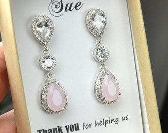 Blush pink  Earrings, Bridesmaid Gift, Wedding Gift, Earrings Set, silver Framed, Bezel Set Earrings, Pink, pink opal, Bridesmaid Earrings