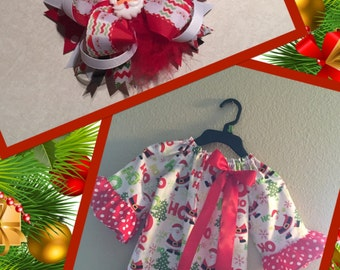 Christmas Santa  Dress with Matching Bow