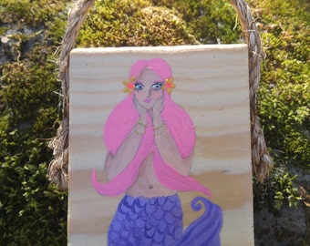 SALE!! Pink haired mermaid with purple tail hand painted on reclaimed wood