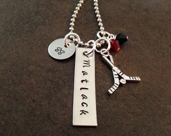 Personalized Jewelry, Hand Stamped Jewelry, Hockey Necklace, Name Necklace, Hockey Stick Puck Charm, Hockey Mom, Hockey Player, Kids Jewelry