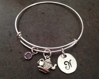 Tea pot, Tea cup, Teapot, Teacup, Charm, Initial Charm Bangle, Personalized Bracelet, Monogram, Hand Stamped, Alex and, Gift for her