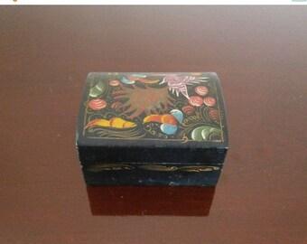 Wood Trinket Box Folk Art Hand Painted Laquered Hummingbird
