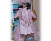 """5 Pc's """"1960's Easter Greetings"""" Pink Coat, Dress, Hat & Scarf. Handmade Barbie Clothes. Fits All Barbie Dolls, Vintage, Modern, Silkstone"""
