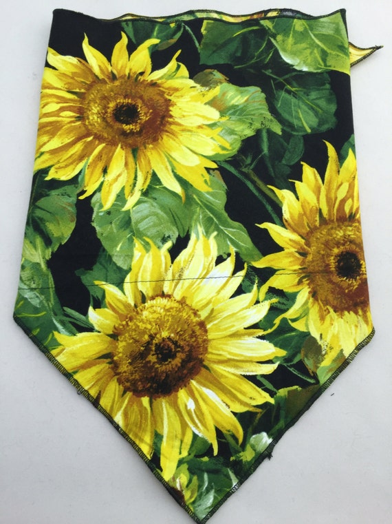 Sunflower Power: Hidden Pocket Bandana w/ Sunflower print on Black Cotton