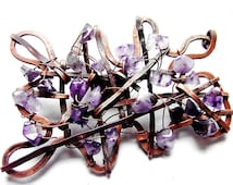 Rerto broch made od forged copper and amethyste stone retro charms brooch autumn brooch ideal gift for Her by GepArtJewellery.FREE SHIPPING!