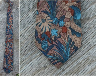 Italian silk vintage floral tie / Rustic brown Earth tones, blues, neutral taupe