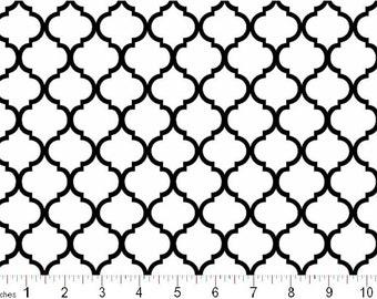 Mini Quatrefoil Black on White Moroccan Lattice Cotton Print, By the Yard  #398