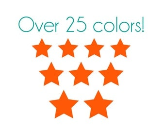 Three Size Star Nail Decals - Vinyl, Custom Color Choice
