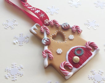 Candy Cane Gingerbread House hanging decoration