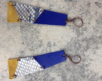 Geometric long earrings leather