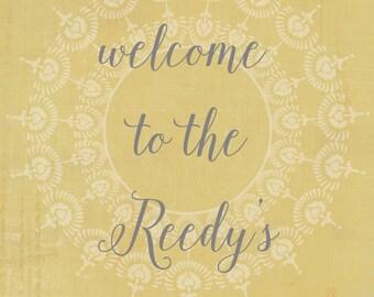 Custom Modern Family Name Print For Entry Welcome Wedding