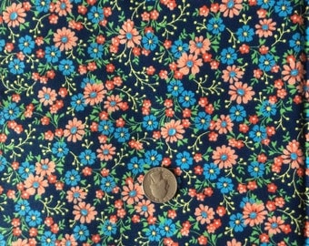 Floral cotton fabric, daisy fabric, flower fabric