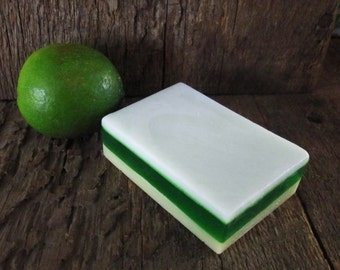 Key Lime Pie Layered Shea Butter and Glycerin Soap Bar 4 oz.