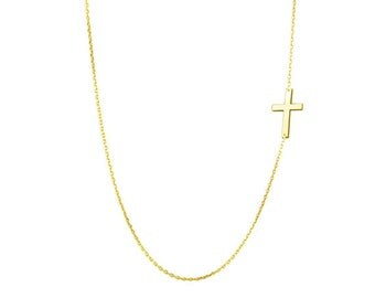 Gold Cross sideways necklace off centered pendant 18K Gold Plated on 925 Sterling Silver celebrity Kelly Ripa