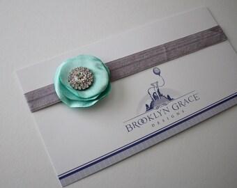 Saltwater Blue Satin Lollipop Flower headband with Rhinestone Accent, Center Stone
